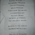 My Dying Bride setlist Thessaloniki 2010 Other Collectable