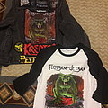 Jacket with signed Flotsam and Jetsam back patch and raglan shirt