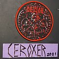 Deicide - Patch - deicide circular red border woven patch