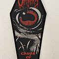 Obituary — Cause is Death woven patch coffin