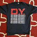 No More Feelings red white shirt