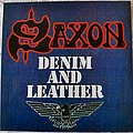Saxon ‎– Denim And Leather Blue with White & Gray Splatter Vinyl