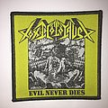 "Toxic holocaust ""evil never dies"" woven patch"