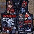Blasphemy - Battle Jacket - Red/black leather vest