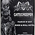 Nails+Toxic Holocaust+Gatecreeper event poster. 19.3.2017 @ R'n'R Hotel Wash DC