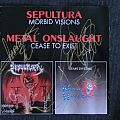 """Sepultura """"Morbid Visions"""" signed 1989 + Metal Onslaught """"Cease To exist"""" Tape / Vinyl / CD / Recording etc"""