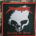 Vomitor - Bleeding the Priest red border woven patch