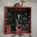 Infester - To The Depths, In Degradation red border woven patch