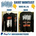 Blood Incantation Full Shirt Wantlist