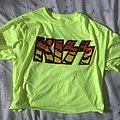 Kiss Neon Yellow/Tiger Print Logo Tee Size M TShirt or Longsleeve