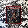 Iron Maiden - Patch - vintage Iron Maiden - Somewhere In Time woven patch (red border)