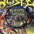 Municipal Waste - Patch - Municipal Waste - The Art of Partying woven circular patch (black border)