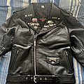 Leather Jacket with Pin Badges