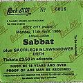Sabbat (UK) - Other Collectable - Sabbat - Gig ticket for Rock City, Nottingham, 11 April 1988