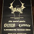 Celtic Frost / Kreator / Coroner - Concert Poster 1986 Other Collectable