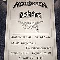 Helloween / Destruction / Wallop - 1986 - German Concert Poster Other Collectable