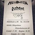 Helloween / Destruction / Wallop - 1986 - German Concert Poster Other Collectable
