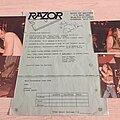Razor - Other Collectable - Razor Merchandising Flyer autograph Promo Photos