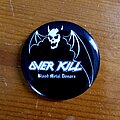 """Overkill - Pin / Badge - Overkill """"Blood Metal Donors"""" Pin and Merch Flyer."""