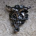 JUDAS PRIEST Metallian's head vintage tin / pewter cast brooch Other Collectable