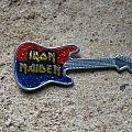 Iron Maiden - Pin / Badge - IRON MAIDEN prismatic logo vintage guitar brooch