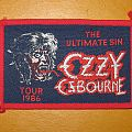 """Ozzy Osbourne - Patch - OZZY OSBOURNE """"The Ultimate Sin Tour 1986"""" original woven patch (red border)"""