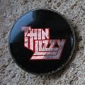 THIN LIZZY Silver & red logo vintage crystal/enameled badge
