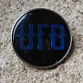 UFO blue logo vintage crystal/enameled badge *SOLD*