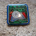 DEF LEPPARD Pyromania (green background) vintage enameled square pin Pin / Badge