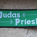 JUDAS PRIEST name and arrows (green background) vintage woven patch