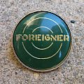 FOREIGNER Logo vintage crystal/enameled badge (green background) *GONE*