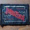 "JUDAS PRIEST British Steel ""razor blade"" vintage woven mini patch (black border)"