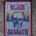 BLACK SABBATH skull & burning tombs all-glittery vintage woven patch