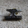 ANVIL Metal On Metal vintage tin / pewter cast pin back badge