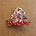 WARNING II original enameled cast pewter pin