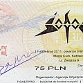 Other Collectable - Sodom signed ticket & guitar pick