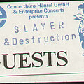 Slayer - Other Collectable - Slayer / Destruction back stage pass 1985 Tour