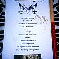 Mayhem - setlist + drumstick - signed by Hellhammer Other Collectable