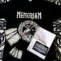 Memoriam - The Hellfire demos cover shirt + signature from Karl Willetts + patch + stickers