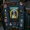 Battle jacket with signed Testament backpatch