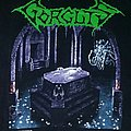GORGUTS- Considered Dead 1992 T-shirt (Version #2, Mausoleum/Tomb in purple/white print)