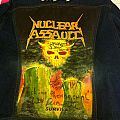 Battle Jacket - Nuclear Assault Survive painted on denim done in 1989 by Vinnie Daze  R.I.P. from Demolition Hammer and autographed by N.A.