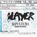 Slayer /sepultura /system of a down concert ticket Den Haag netherlands 11-11-1998 Other Collectable