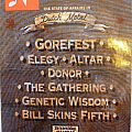 concert ticket Gorefest, Elgaly, Altar, Donor, the gathering ,Genetic wisdom ,Bill skins  fifth