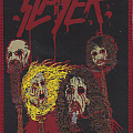 slayer  new design of death skin mask woven patch red rim
