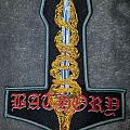 Mjölnir shaped Bathory - Blood on Ice woven patch.