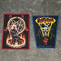 Beautiful woven red and blue bordered Slayer and Destruction patches.