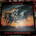"2013 High Roller reissue of Jag Panzer's Ample Destruction on 12"" blue vinyl."