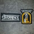 Embroidered Abhorrence and Testament patches.