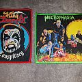 Woven red and green bordered King Diamond - Conspiracy and Necrophagia - Season of the Dead patches.